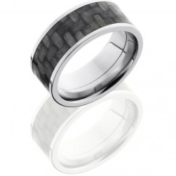 Lashbrook C9F17-CF Polish Titanium Carbon Fiber Wedding Ring or Band