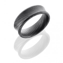Lashbrook D7CB Acid Damascus Steel Wedding Ring or Band