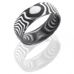 Lashbrook D8DTIGER Acid Damascus Steel Wedding Ring or Band