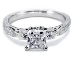 Tacori Hand Engraved Platinum Engagement Ring HT2223