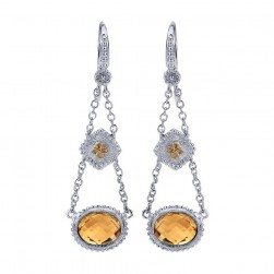 Gabriel Fashion Silver / 18 Karat Two-Tone Roman Drop Earrings EG10937MYJCT