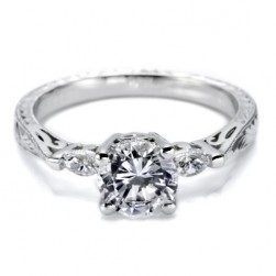 Tacori Platinum Hand Engraved Engagement Ring HT2198