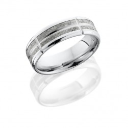 Lashbrook 14KW7B(NS)14/METEORITEVSEG11 POLISH Precious Metal Wedding Ring or Band