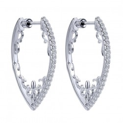 Gabriel Fashion 14 Karat Hoops Fancy Earrings EG12079W45JJ