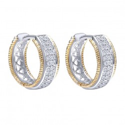 Gabriel Fashion 14 Karat Two-Tone Hoops Classic Earrings EG10639M45JJ