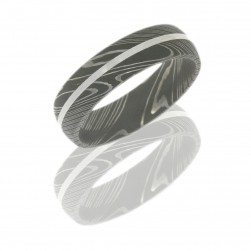 Lashbrook D6D11-PLATINUM ACID Damascus Steel Wedding Ring or Band