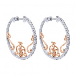 Gabriel Fashion 14 Karat Two-Tone Hoops Fancy Earrings EG12058T45JJ
