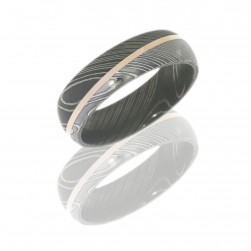 Lashbrook D7D11ANGLE-14KR POLISH-ACID Damascus Steel Wedding Ring or Band
