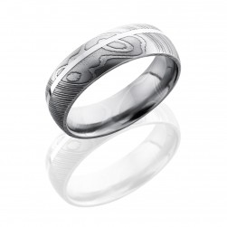 Lashbrook D7D11OC-SS Polish Damascus Steel Wedding Ring or Band