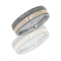 Lashbrook D7D12OC-14KR DULL POLISH Damascus Steel Wedding Ring or Band