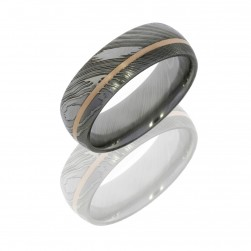 Lashbrook D8D11OC/14KR POLISH Damascus Steel Wedding Ring or Band