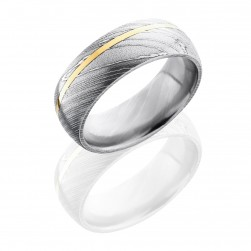 Lashbrook D8D11OC/14KY SATIN-ACID Damascus Steel Wedding Ring or Band