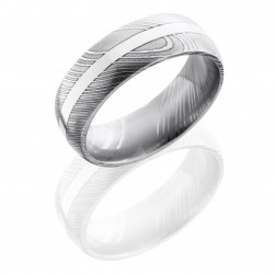 Lashbrook D8D12-14KW Polish Damascus Steel Wedding Ring or Band