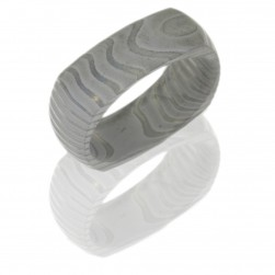 Lashbrook D8DSQTIGER BEADBLAST Damascus Steel Wedding Ring or Band