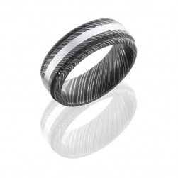 Lashbrook D8RED12-14KW Acid Damascus Steel Wedding Ring or Band