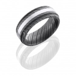Lashbrook D8REF12/14KW SATIN-ACID Damascus Steel Wedding Ring or Band