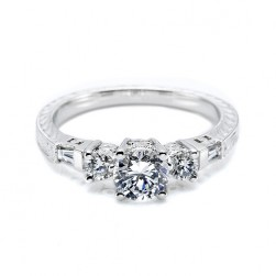 Tacori 18 Karat Hand Engraved Engagement Ring HT2200