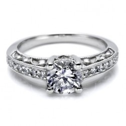 Tacori Platinum Hand Engraved Engagement Ring HT2154