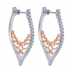 Gabriel Fashion 14 Karat Two-Tone Hoops Fancy Earrings EG12073T45JJ