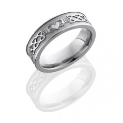 Lashbrook 6FCLADDAGHCeltic Sand-Satin Titanium Wedding Ring or Band