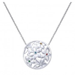 Gabriel Fashion Silver Floral Necklace NK4220SVJMC