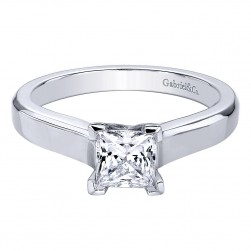 Gabriel 14 Karat Pricncess Cut Solitaire Engagement Ring ER9543W4JJJ