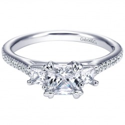 Gabriel 14 Karat Princess Cut 3 Stones Engagement Ring ER5430W44JJ