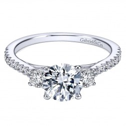 Gabriel - Chantal 14 Karat Round 3 Stones Engagement Ring ER7296W44JJ