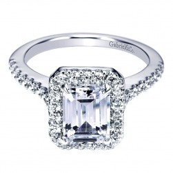 Gabriel - Kelsey 14 Karat Emerald Cut Halo Engagement Ring ER5823W44JJ