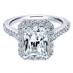 Gabriel - Kelsey 14 Karat Emerald Cut Halo Engagement Ring ER5824W44JJ