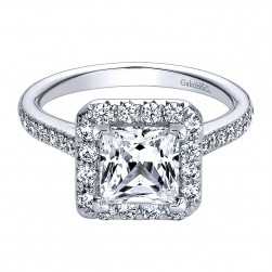 Gabriel - Patience 14 Karat Princess Cut Halo Engagement Ring ER9383W44JJ