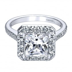 Gabriel - Patience 14 Karat Princess Cut Halo Engagement Ring ER9384W44JJ