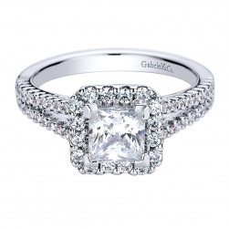 Gabriel - Savannah 14 Karat Princess Cut Halo Engagement Ring ER9540W44JJ