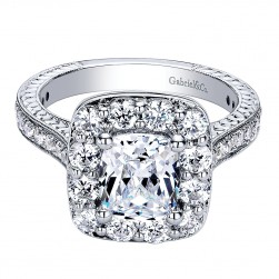 Gabriel - Zelda 14 Karat Cushion Cut Halo Engagement Ring ER9420W44JJ