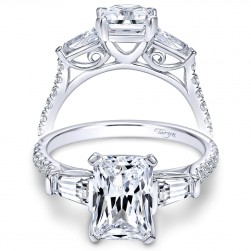 Taryn 14k White Gold Emerald Cut 3 Stones Engagement Ring TE9047W44JJ