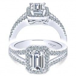 Taryn 14k White Gold Emerald Cut Halo Engagement Ring TE5874W44JJ