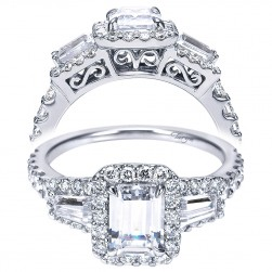 Taryn 14k White Gold Emerald Cut Halo Engagement Ring TE7269W44JJ