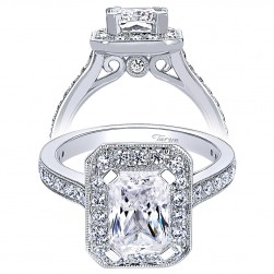 Taryn 14k White Gold Emerald Cut Halo Engagement Ring TE9335W44JJ