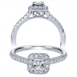 Taryn 14k White Gold Princess Cut Halo Engagement Ring TE910529W44JJ