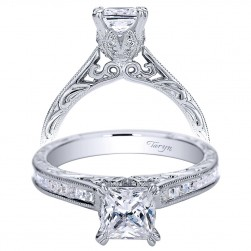 Taryn 14k White Gold Princess Cut Straight Engagement Ring TE9198W44JJ