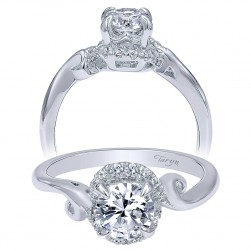 Taryn 14k White Gold Round Bypass Engagement Ring TE10449W44JJ