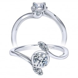Taryn 14k White Gold Round Bypass Engagement Ring TE912006R0W44JJ