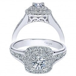 Taryn 14k White Gold Round Double Halo Engagement Ring TE911772R0W44JJ