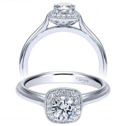 Taryn 14k White Gold Round Halo Engagement Ring TE911716R0W44JJ