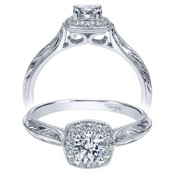 Taryn 14k White Gold Round Halo Engagement Ring TE911718R0W44JJ