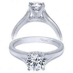 Taryn 14k White Gold Round Split Shank Engagement Ring TE10186W4JJJ