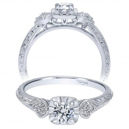 Taryn 14k White Gold Round Straight Engagement Ring TE910779W44JJ