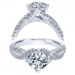 Taryn 14k White Gold Round Twisted Engagement Ring TE10197W44JJ