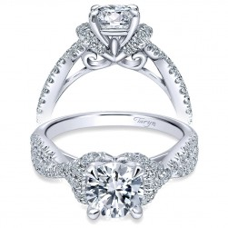 Taryn 14k White Gold Round Twisted Engagement Ring TE10753W44JJ