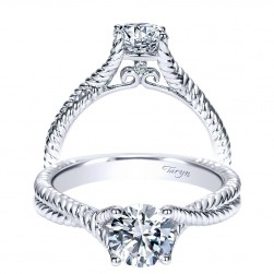 Taryn 14k White Gold Round Twisted Engagement Ring TE8843W44JJ